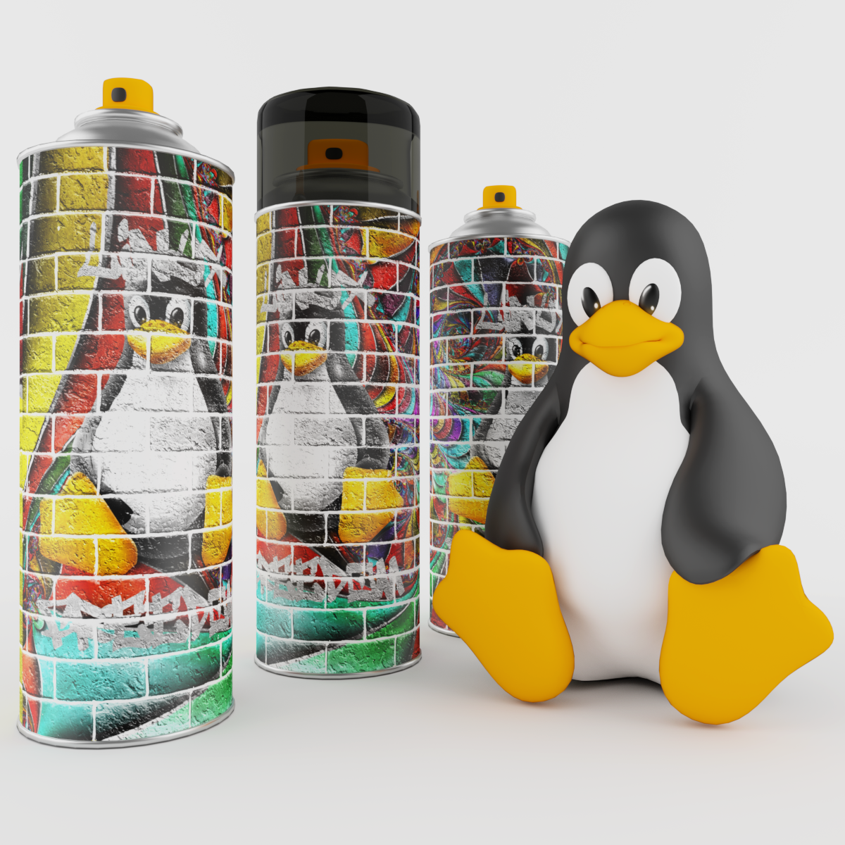 spray paint can linux penguin polygon beater